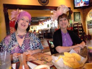 Red Hat, 2 gorgeous pink hatters! Annie, l, and Angie, R., May, 2013