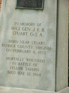 Memorial to JEB Stuart at Courthouse in Stuart, Virginia