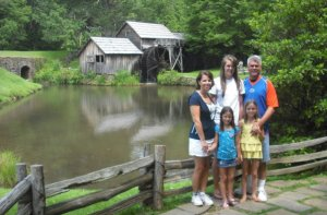 Spangler, Clockwise from left Mary, Cammi, Chuck, Bryce & Bailey at Mabry Mill along the Blue Ridge Parkway. (2)