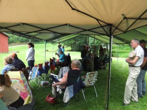 Spangler reunion, gathering under the tent to watch and listen