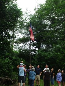 Spangler's , grandchildren raise the flag