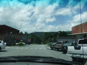 Stuart, Va. downtown and view of mountains
