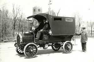 Police wagon paddy wagon, Black Maria, driven by Thomas Kerse in 1910