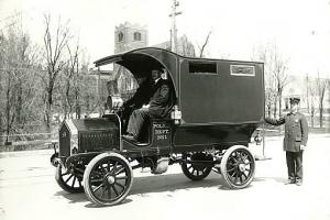 Police wagon paddy wagon, Black Maria, driven by Thomas Kerse in 1910