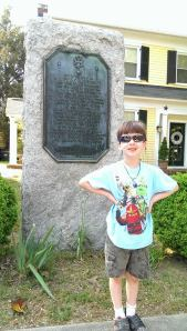 Nicholas martiau Plaque in Yorktown with his 11th gr. grandson Liam Orcutt, May, 2014