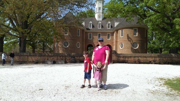 Ali, Liam and katy in front of Colonial Capital Building in Williamsburg Virginia, May, 2014