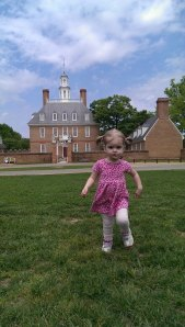Williamsburg, Va, katy in front of Governor's Palace, designed and built by 19th gr gf, Henry Cary