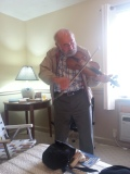 Multitalented, Harvie on the fiddle! Those Spanglers are born with a fiddle in their arms I believe!