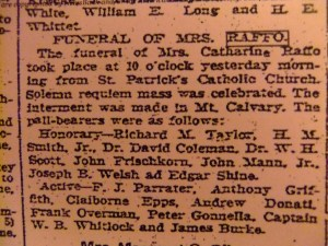 Catherine Botto Raffo's funeral announcement, Apr. 28, 1903, The Richmond Times Dispatch