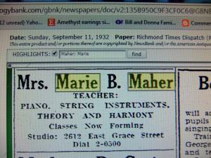 Marie Kerse Maher ad for music lessons