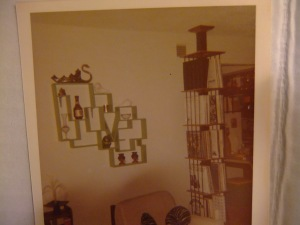 Max made this what-not shelf, spells LOVE, for Helen in 1972.Notice LP album sand designed and built by Max as well.