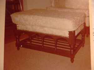 Max's ottoman made for margaret Youngblood, 1974, upholstered by Brenda Holshouser Goodman.