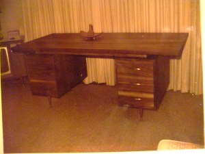 Max's six foot, executive, mahogany desk, made while a student at NCSU, 1970-71.