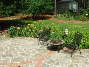patio garden blooming with daylilies