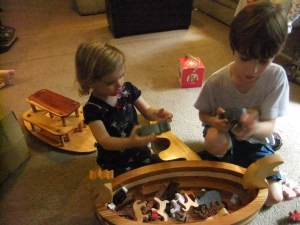Toys by Max, Liam and Katy play with ark