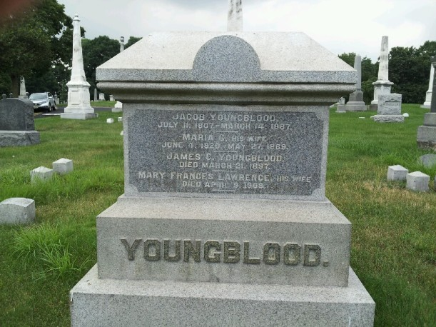 Youngblood, Jacob tombstone, b. 1807