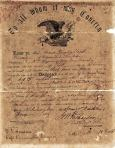 Discharge Papers for Lewis Jacob Youngblood from the American Civil War, dated  1865. Owned by Kay Youngblood Fuller