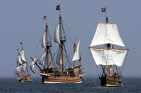 Jamestowne ships, the Susan Constant , the Godspeed, and the Discovery,http://www.dailymail.co.uk/news/article-450916/Tall-ships-mark-400th-anniversary-English-settlement-America.html