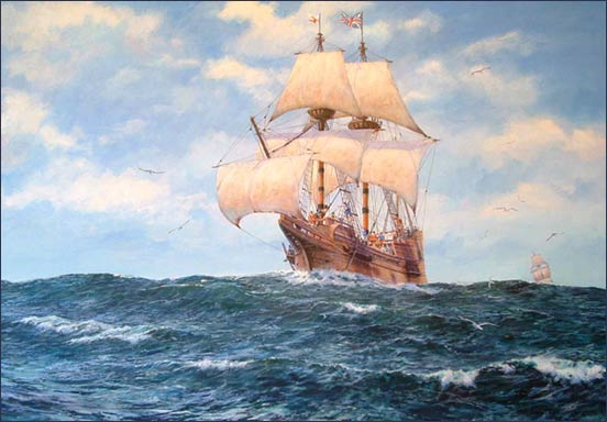 Mayflower leaving England's shores, Mike@Mike HaywoodArt.co.uk copyrighted, used by permission