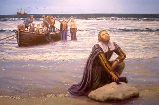 Mayflower, Pilgrim's Landing, by Mike Haywood, Mike@MikeHaywoodArt.co.uk   ©2002 by permission