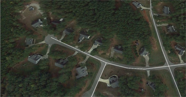Aerial view of cul-de-sac with neighbors who are related from Google Earth
