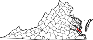 Virginia showing Warwick County on map