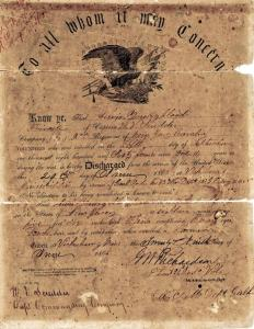 Youngblood, Lewis Jacob, discharge papers from Civil War