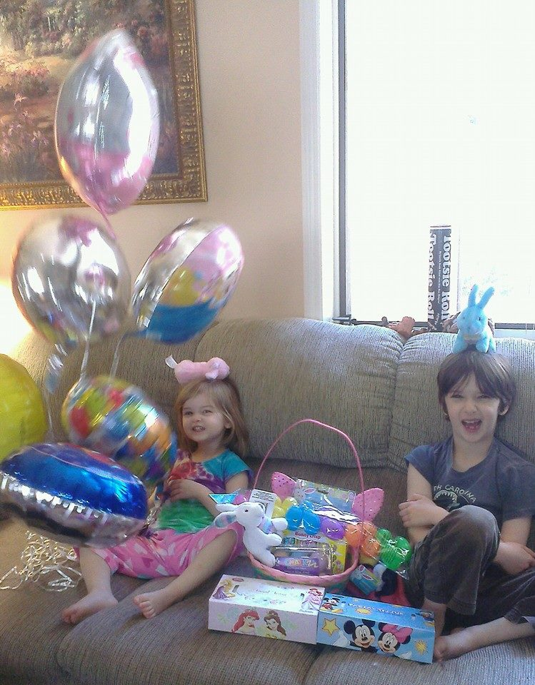Easter 2015, Katy and Liam receive gift from Grandparents when sick, Evie also