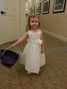 Katy the flower girl at Amy Orcutt's wedding, Oct. 11, 2014