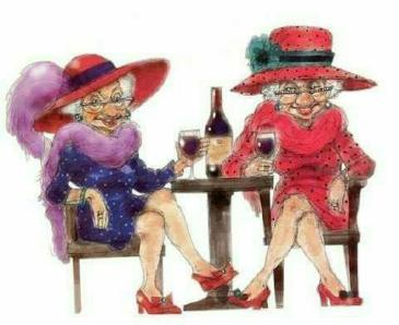 Red Hatters drinking wine!