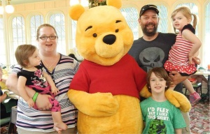 Ali and family with Pooh at Disney Wd may 2015, cropped