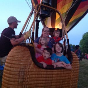 Balloon fest 2015, Ali, Liam , Katy, and Evie, with friend Michael enjoy experience of being in the basket