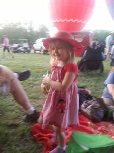 Balloon fest 2015, Katy in red hat and dress