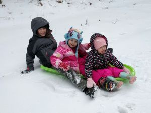 Personal photo collection, grandchildren enjoying first snow of 2017
