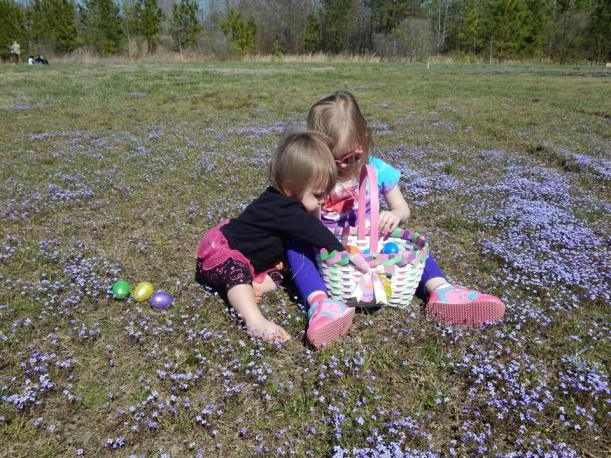 Easter 2015, hunting eggs with Katy and Evie