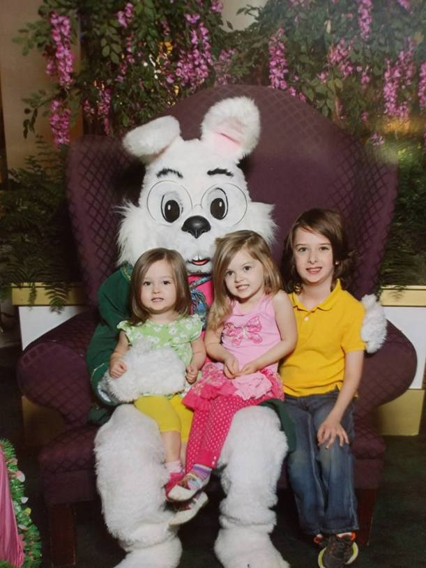 Evie, Katy, and Liam with Easter Bunny, 2016