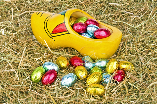 Traditional dutch wooden clog with little colored eggs