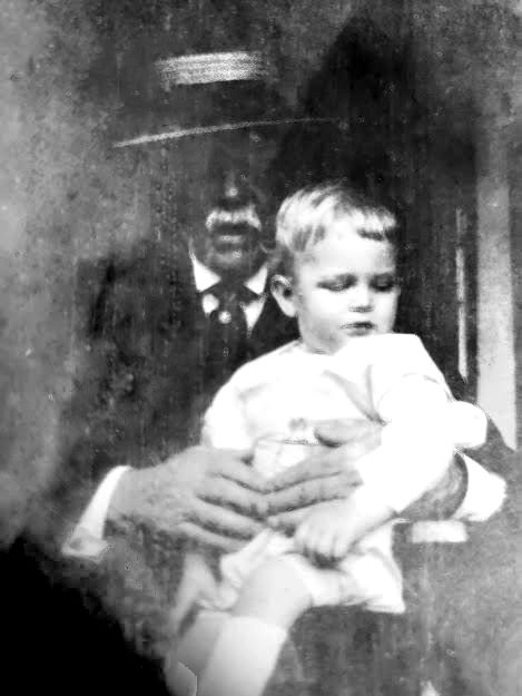 Robert Fulton Hogue, 1850-1924 with son Robert Fulton Hogue, Jr, called Bobby, 1921-child of third wife, Maude Hooten